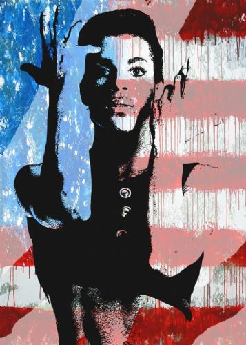 PRINCE - USA cut flag portrait canvas print - self adhesive poster - photo print